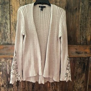 INC, S, Cardigan, Beige with Lace Sleeves